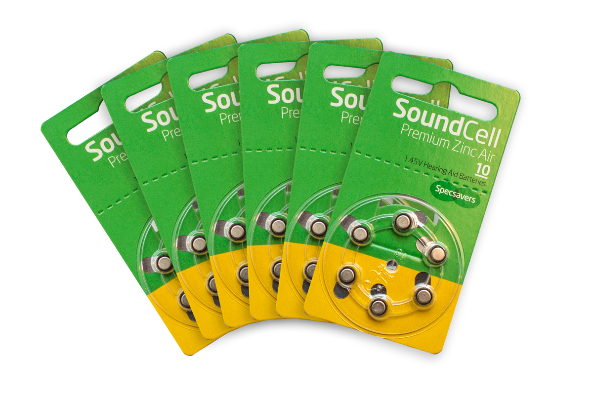 Specsavers premium hearing aid batteries size 10  1.47v quality zinc air pack of 60