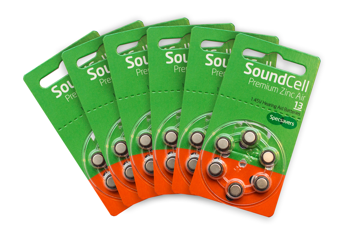 Specsavers premium hearing aid batteries size 13  1.47v quality zinc air pack of 60