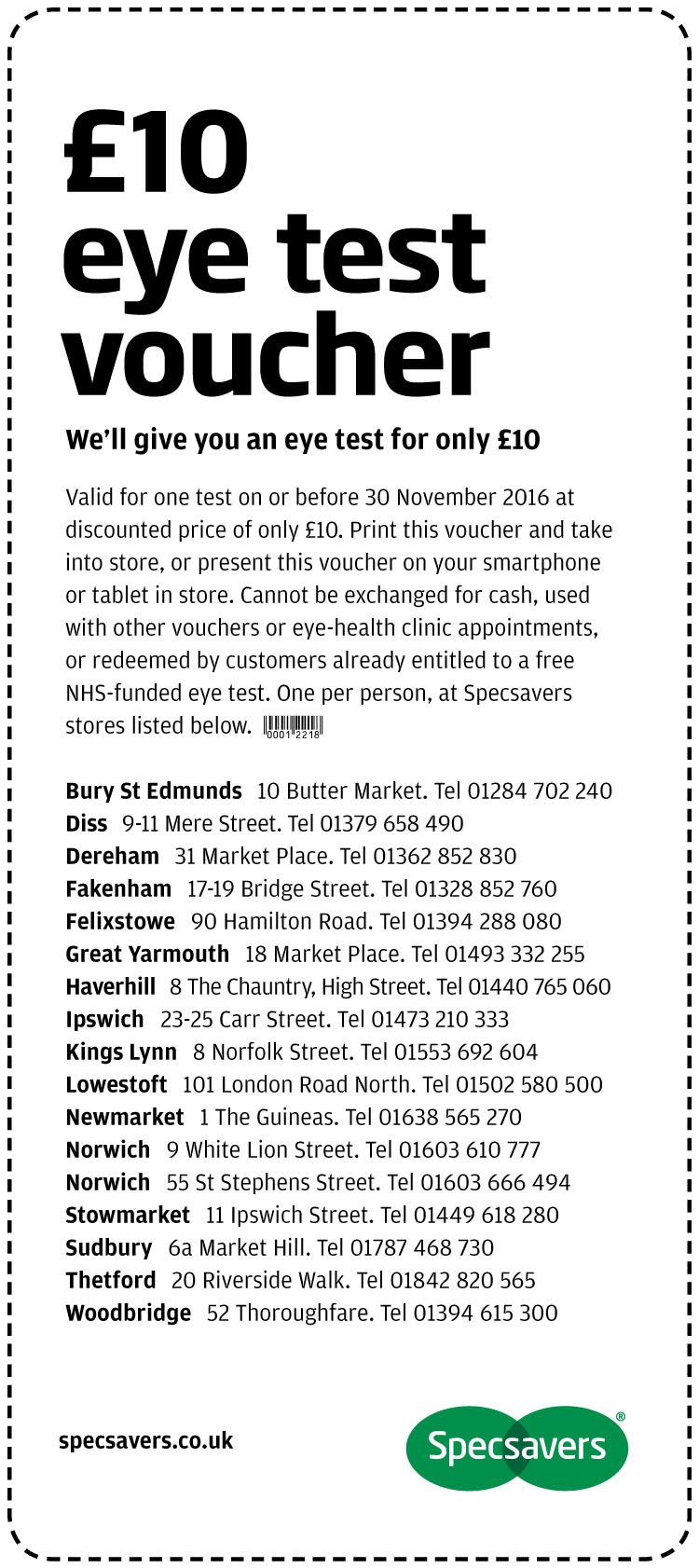 £10 Eye Test - Norfolk and Suffolk