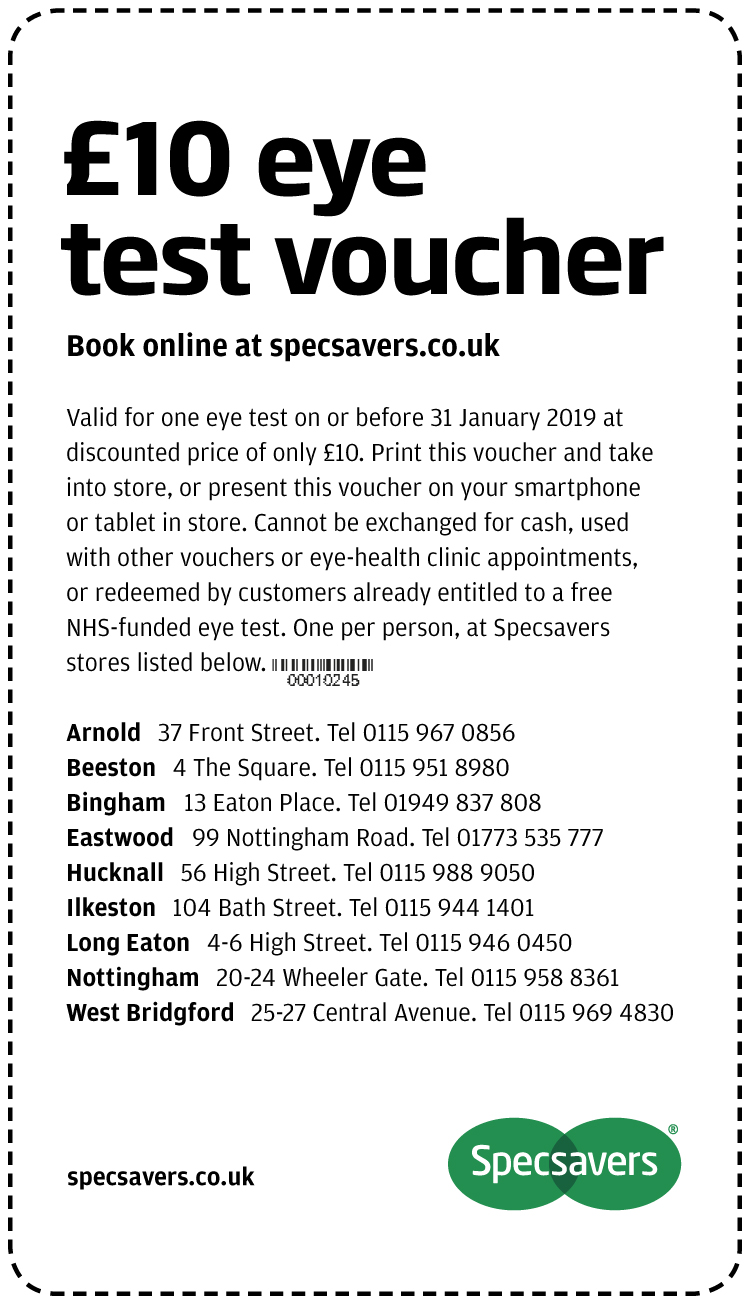 £10 eye test - Nottingham