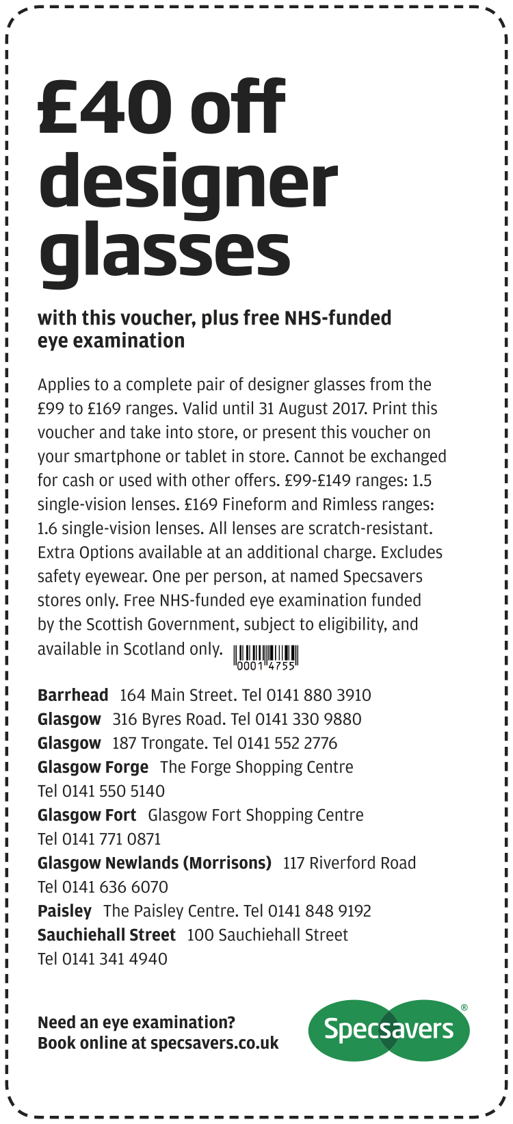£40 off designer glasses - Glasgow