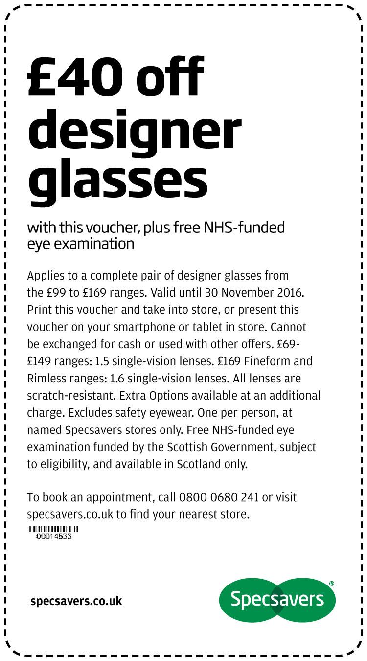£40 off designer glasses - Scotland