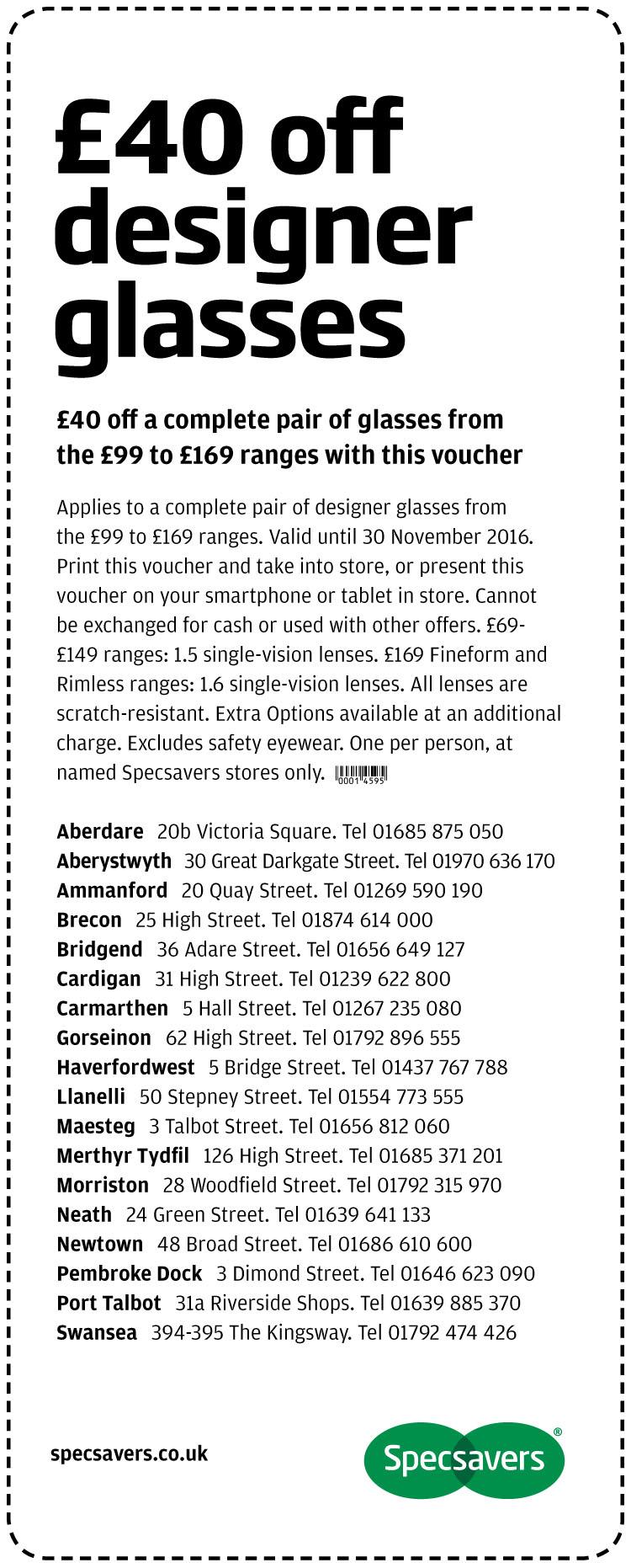 £40 off designer glasses - West Wales