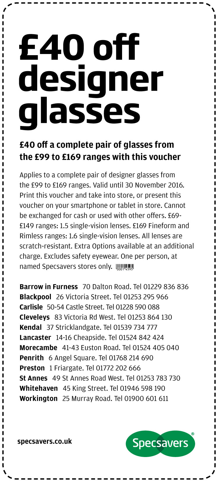 £40 off designer glasses - North West (North)