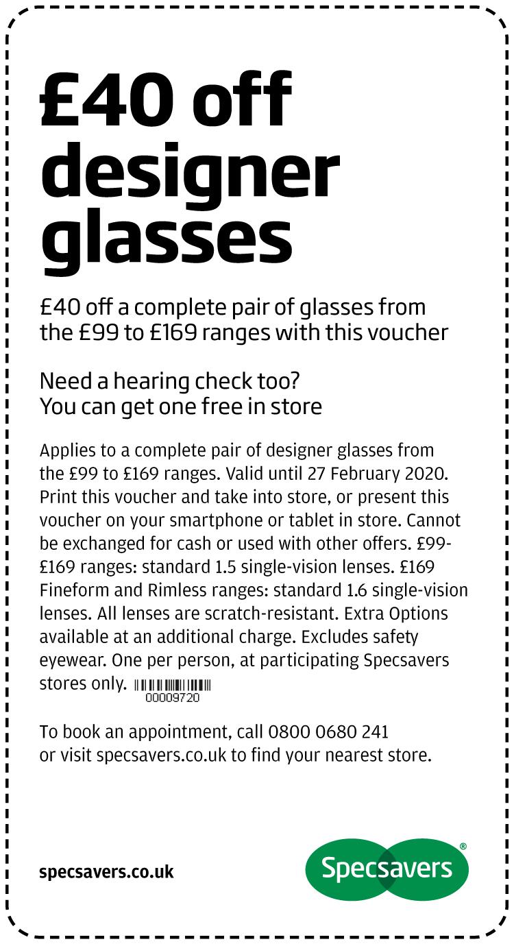 £40 off designer glasses - Sheffield