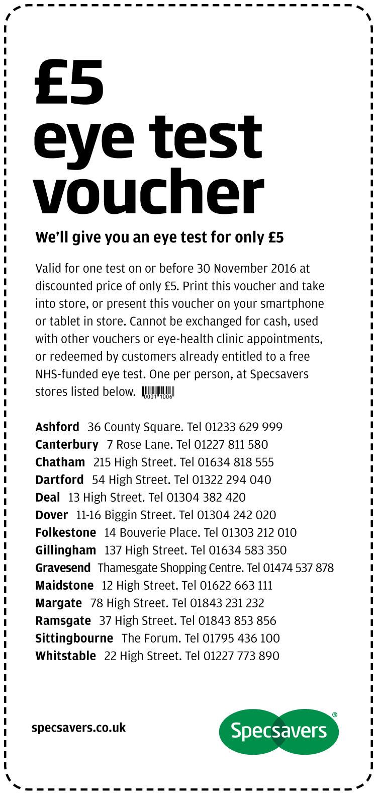 £5 Eye Test - Kent