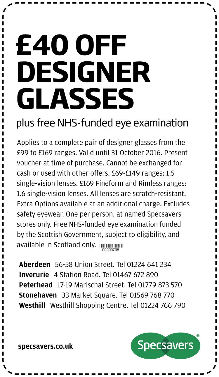 £40 off desinger glasses - Aberdeen