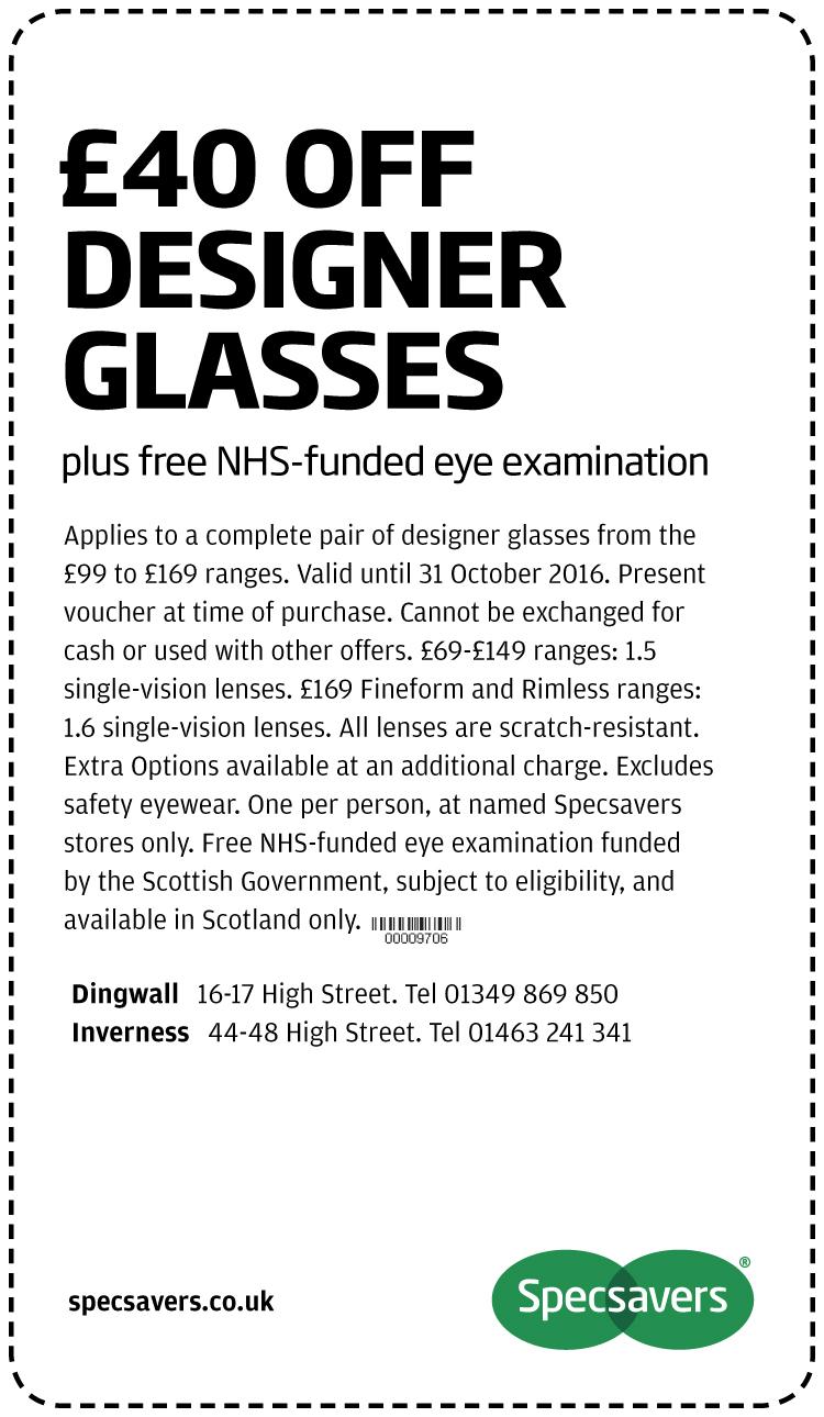 £40 off desinger glasses - Dingwall
