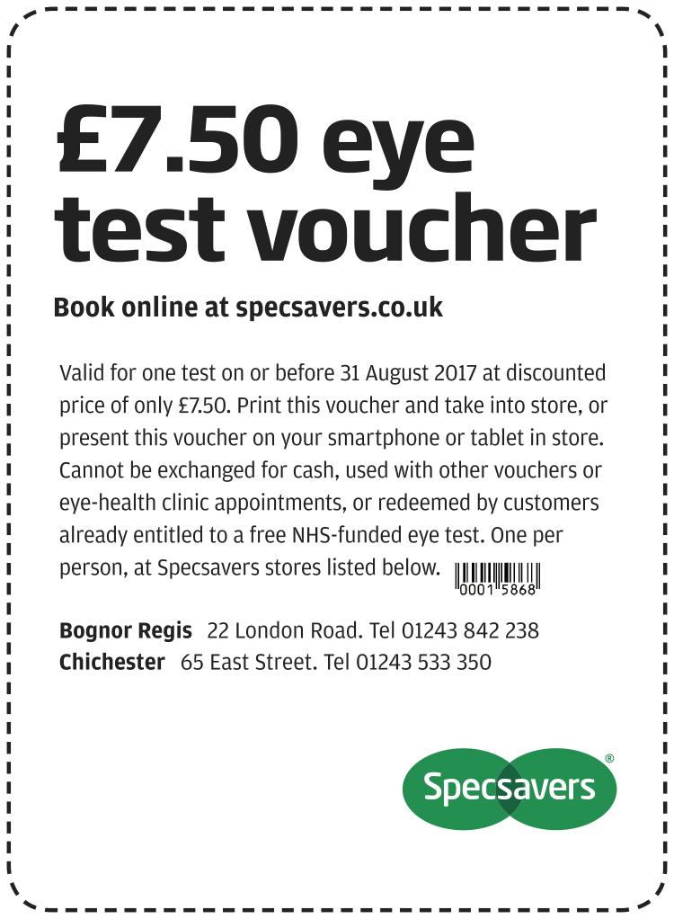 £7.50 eye test - Bognor Regis