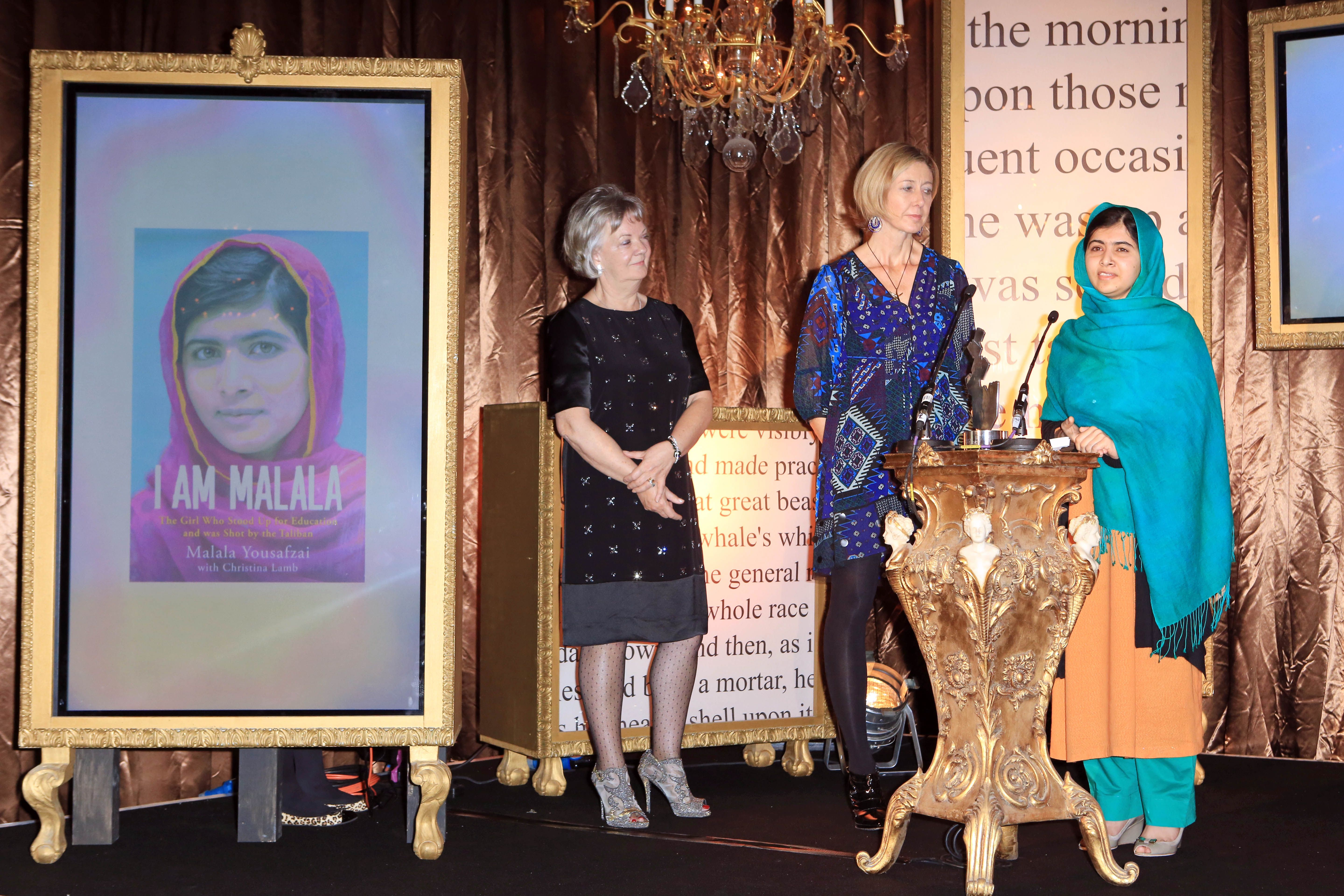 Malala accepting Specsavers National Book Award prize