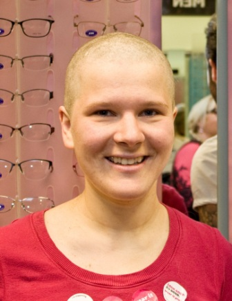 Anda Veita, after donating her hair to the Little Princess Trust