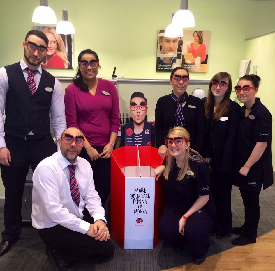 Specsavers in Canvey Island supported this year's Red Nose Day appeal through the sale of Specsavers' novelty glasses
