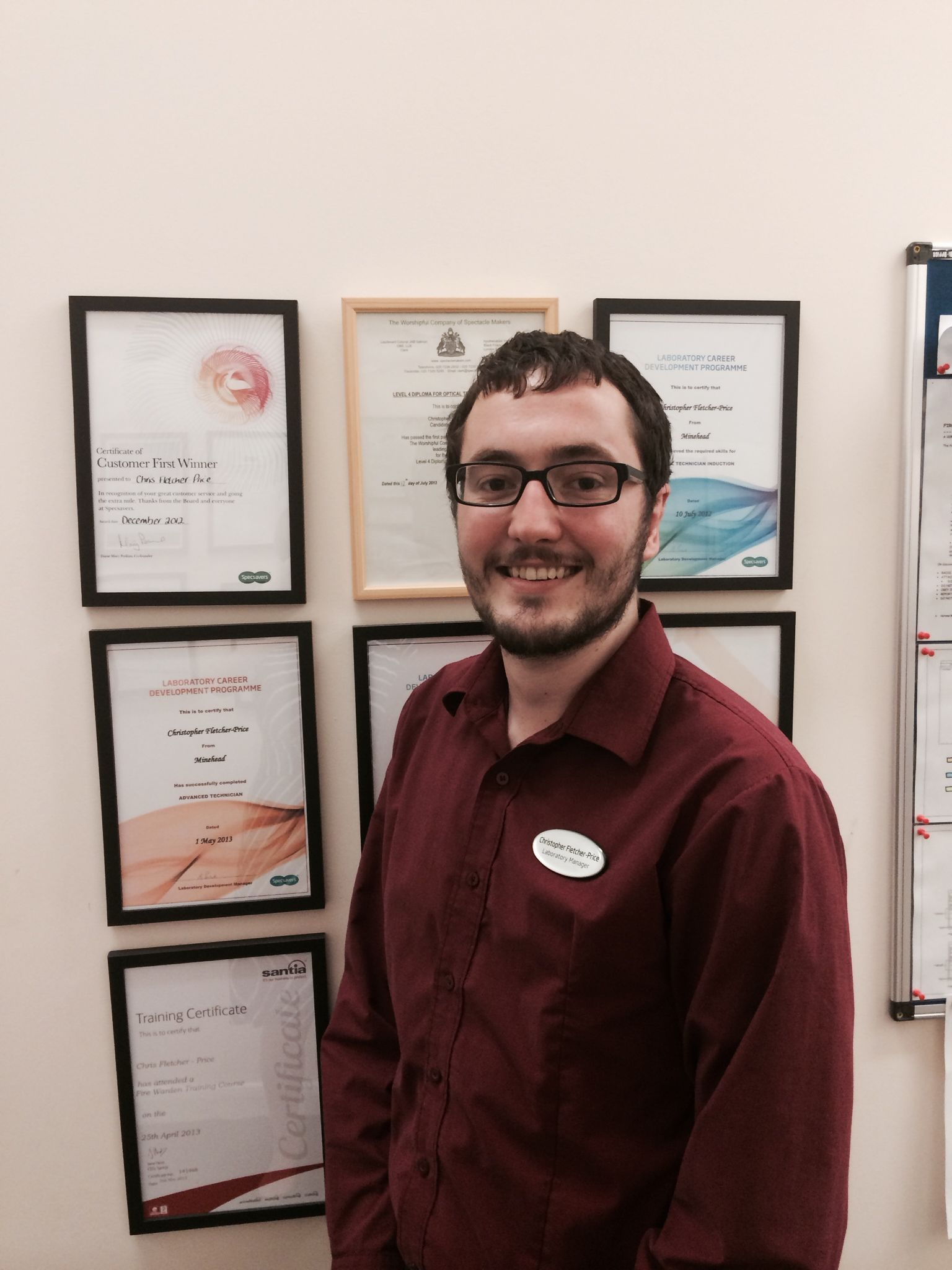 Christopher Fletcher-Price, Lab Manager at Specsavers Minehead