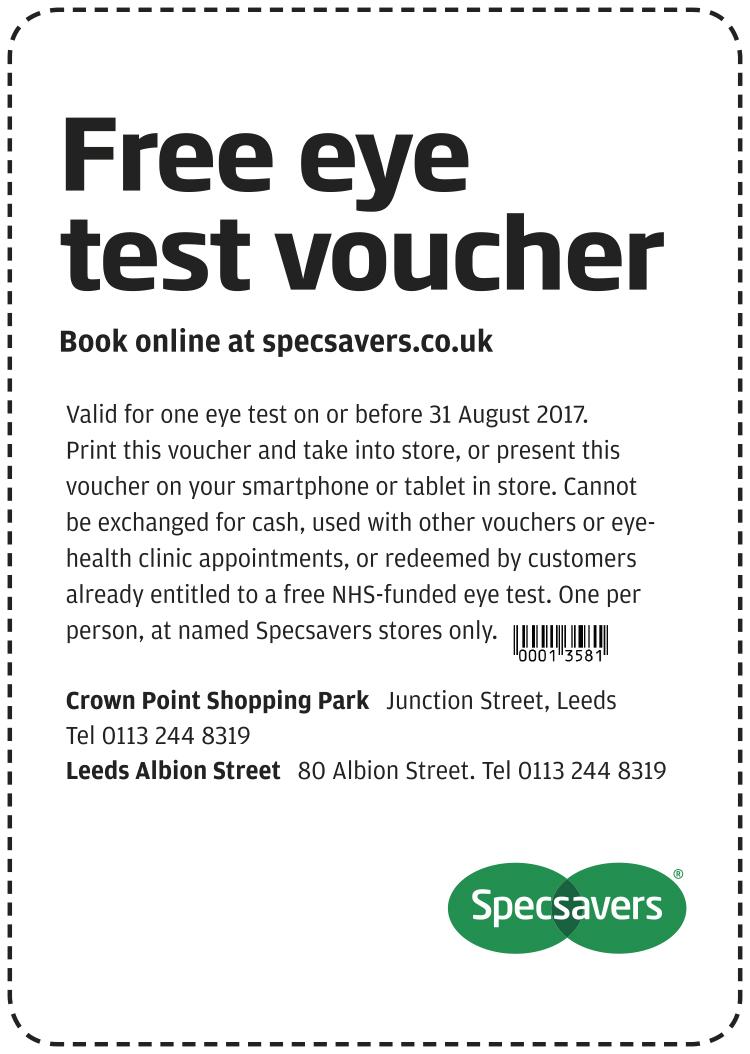 Free eye test - Leeds