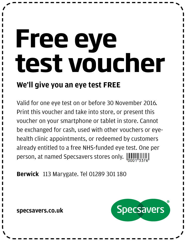 Free Eye Test - Berwick Upon Tweed