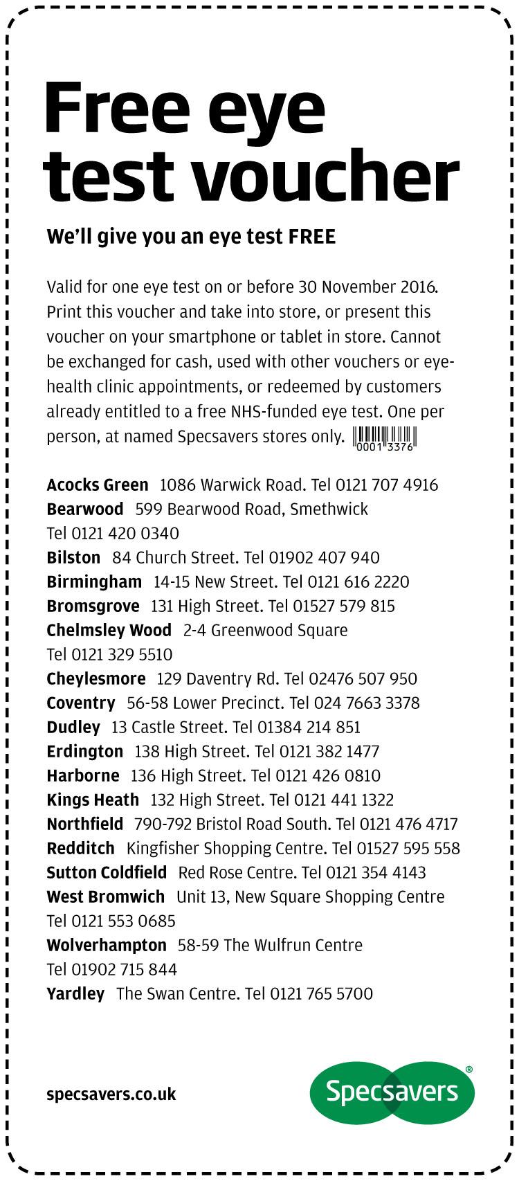Free Eye Test - Greater Birmingham