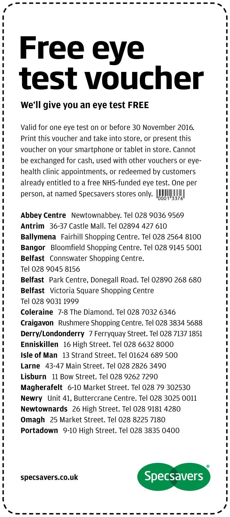 Free Eye Test - Northern Ireland