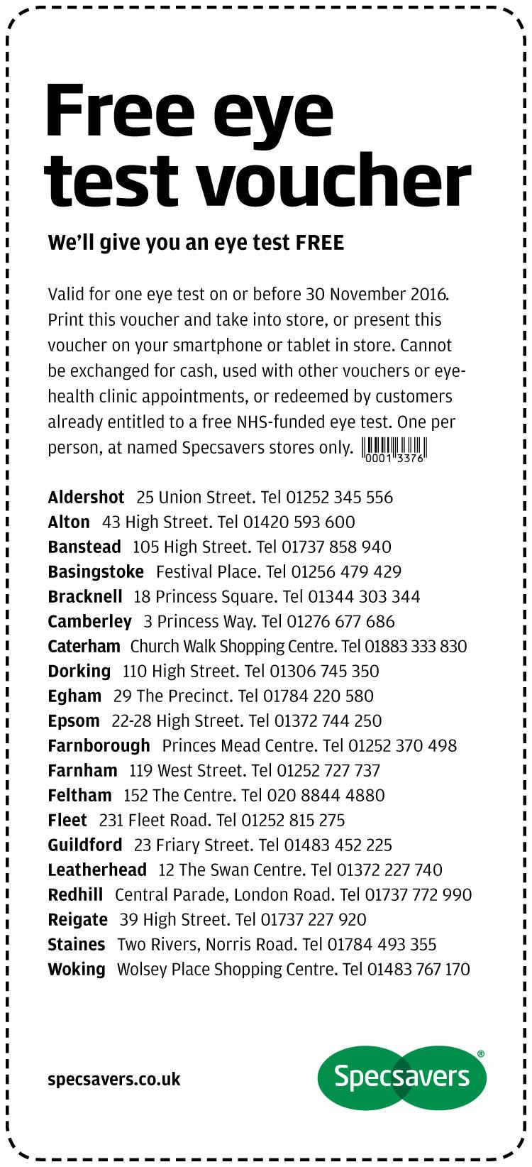 Free Eye Test - Surrey