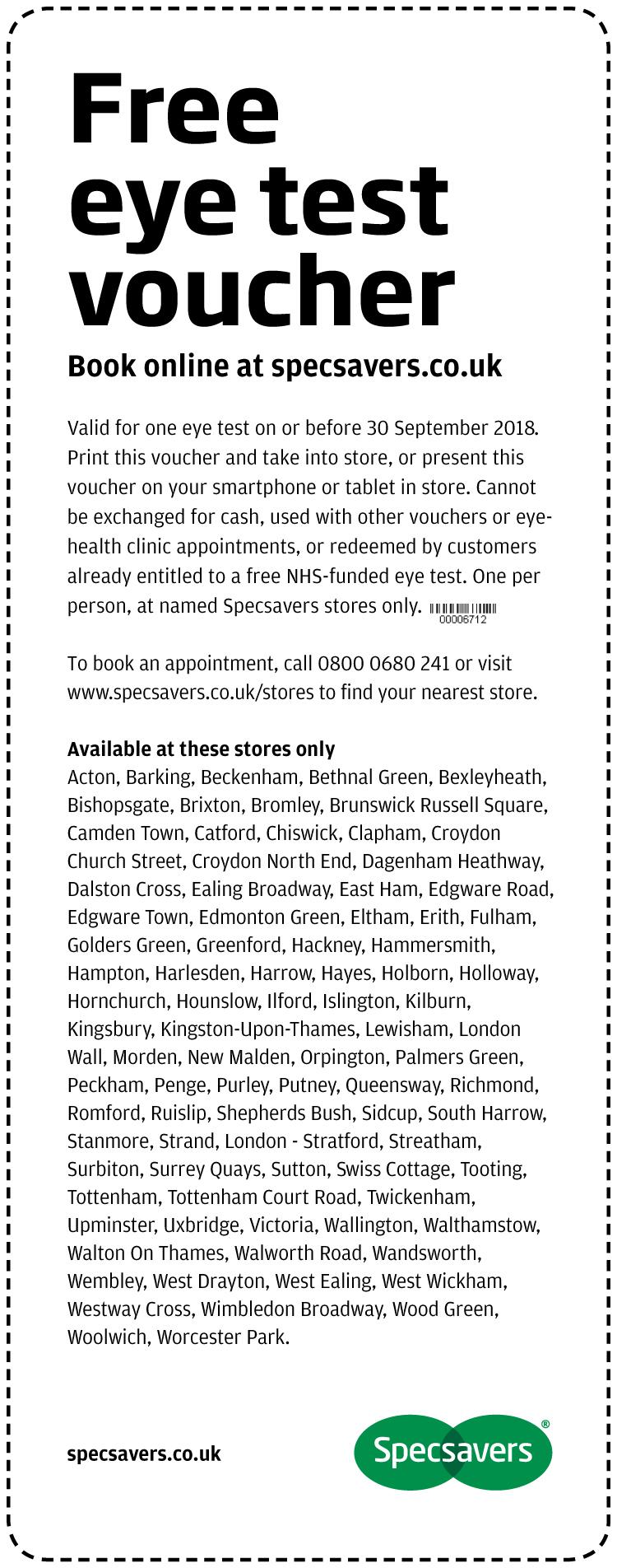 Free Eye Test - Carlton