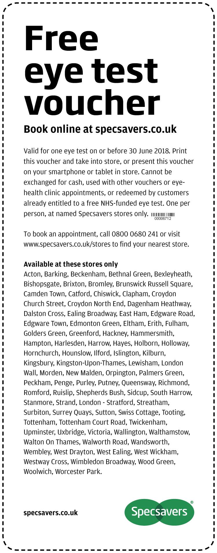 Free Eye Test - London
