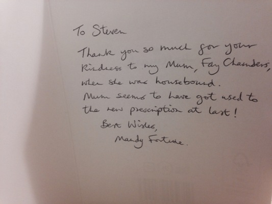 The inside of the thank you card