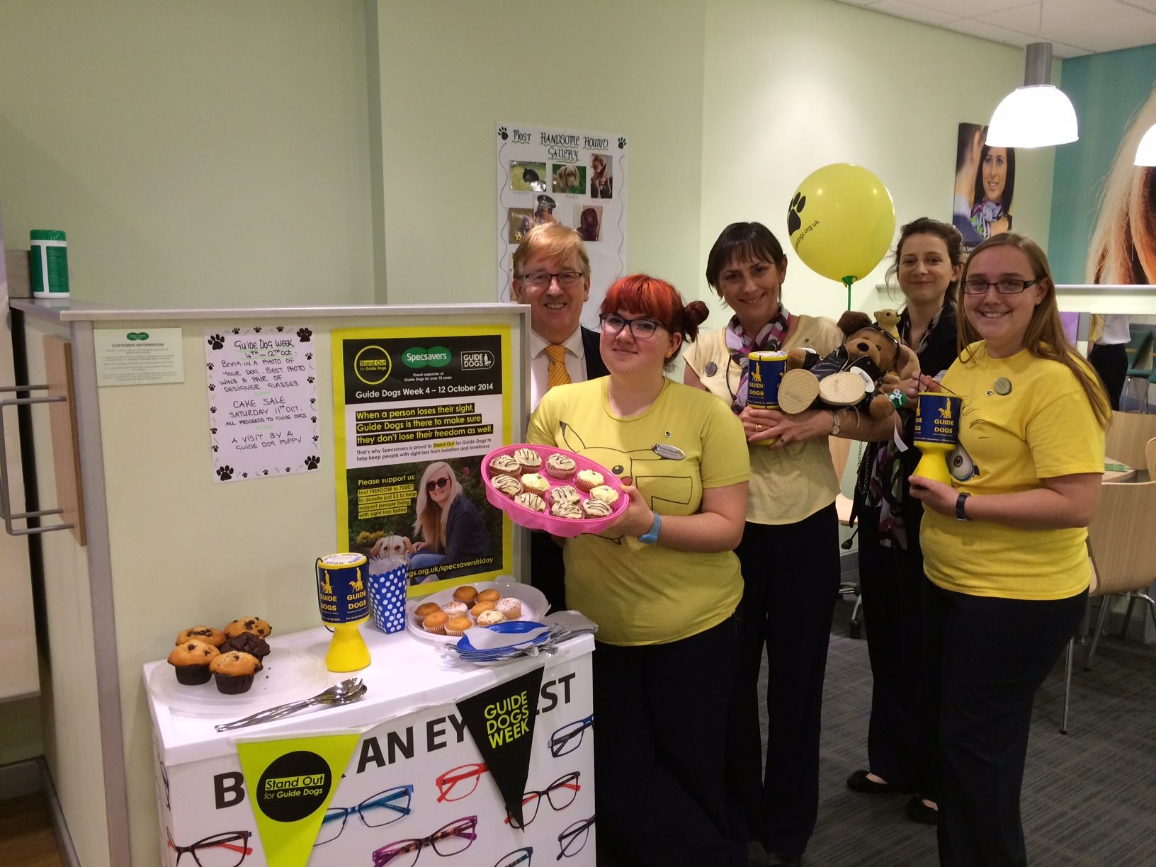 Staff at Specsavers in Winchester baked for Guide Dogs for the Blind