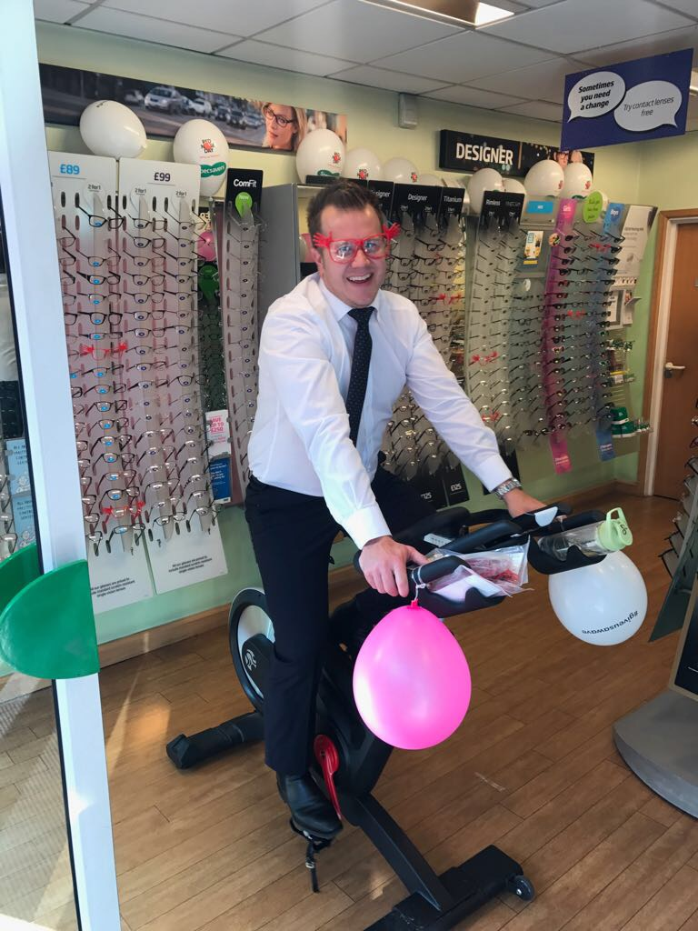 Specsavers staff taking it in turns to pedal for Comic Relief