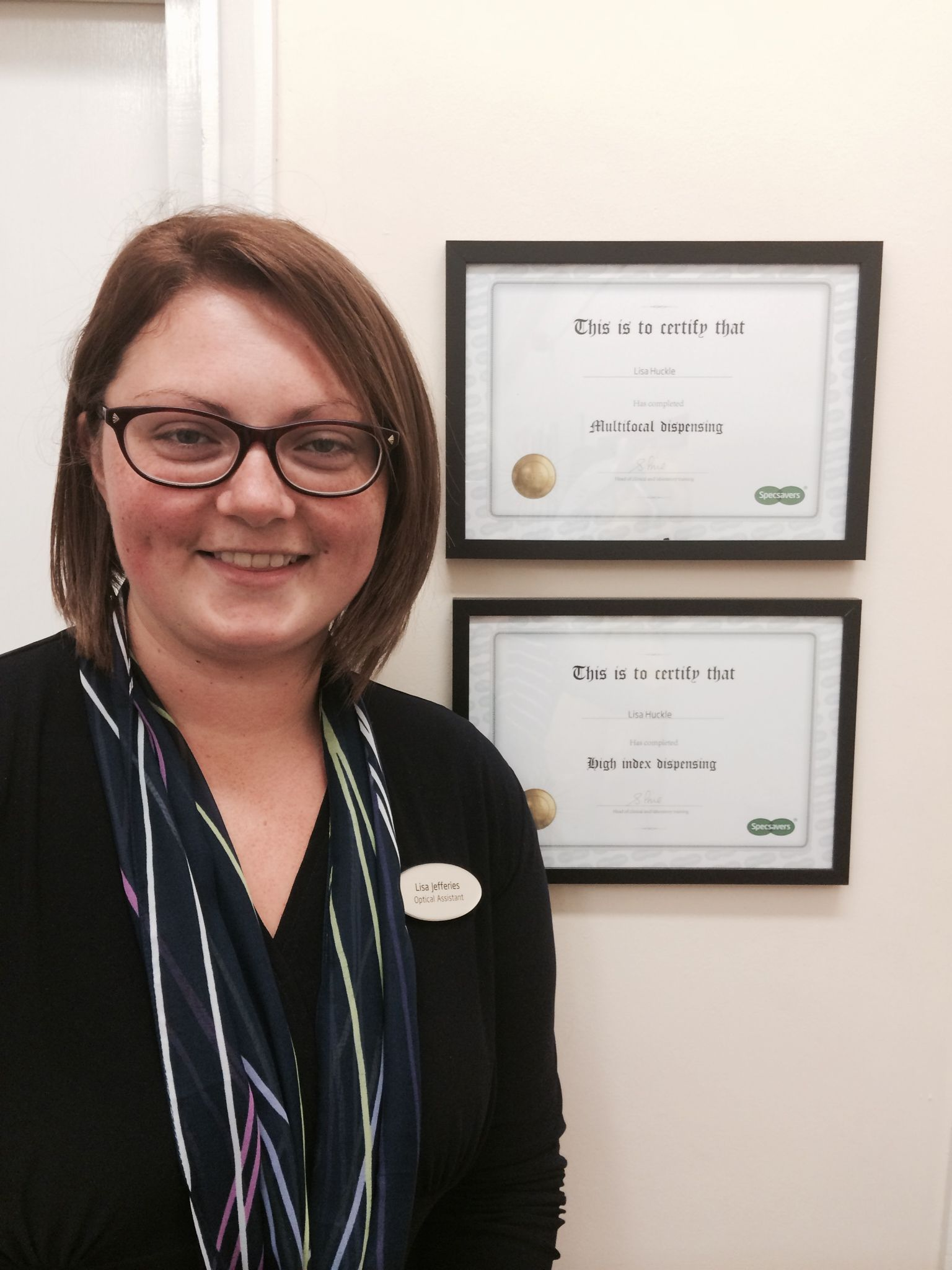 Lisa Jeffries, Optical Assistant/Lab Assistant at Specsavers Minehead