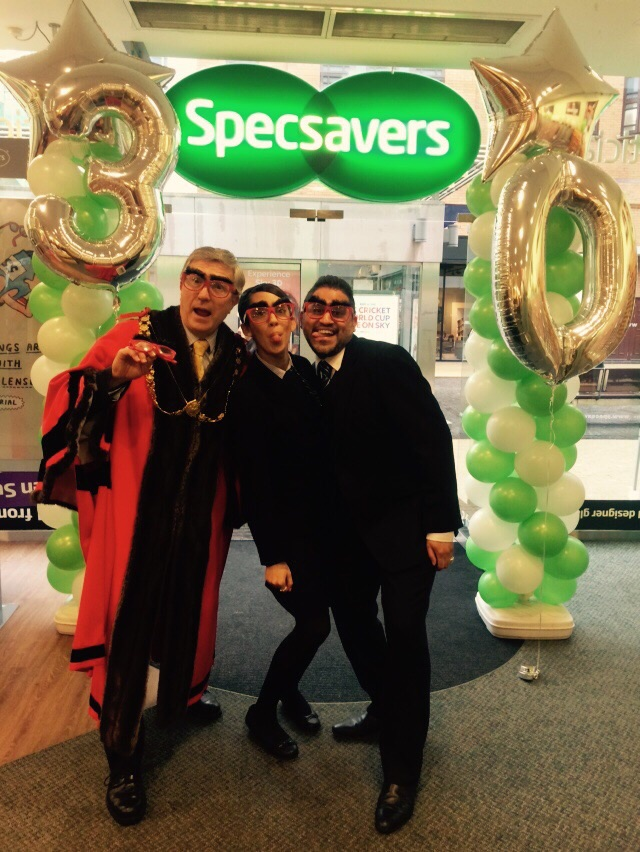 The Right Honourable Lord Mayor of Bristol, Councillor Alastair Watson, was snapped in store with director, Nirav Shah modelling Specsavers' official Red Nose Day comedy glasses.
