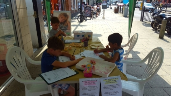 The children take part in the colouring competition
