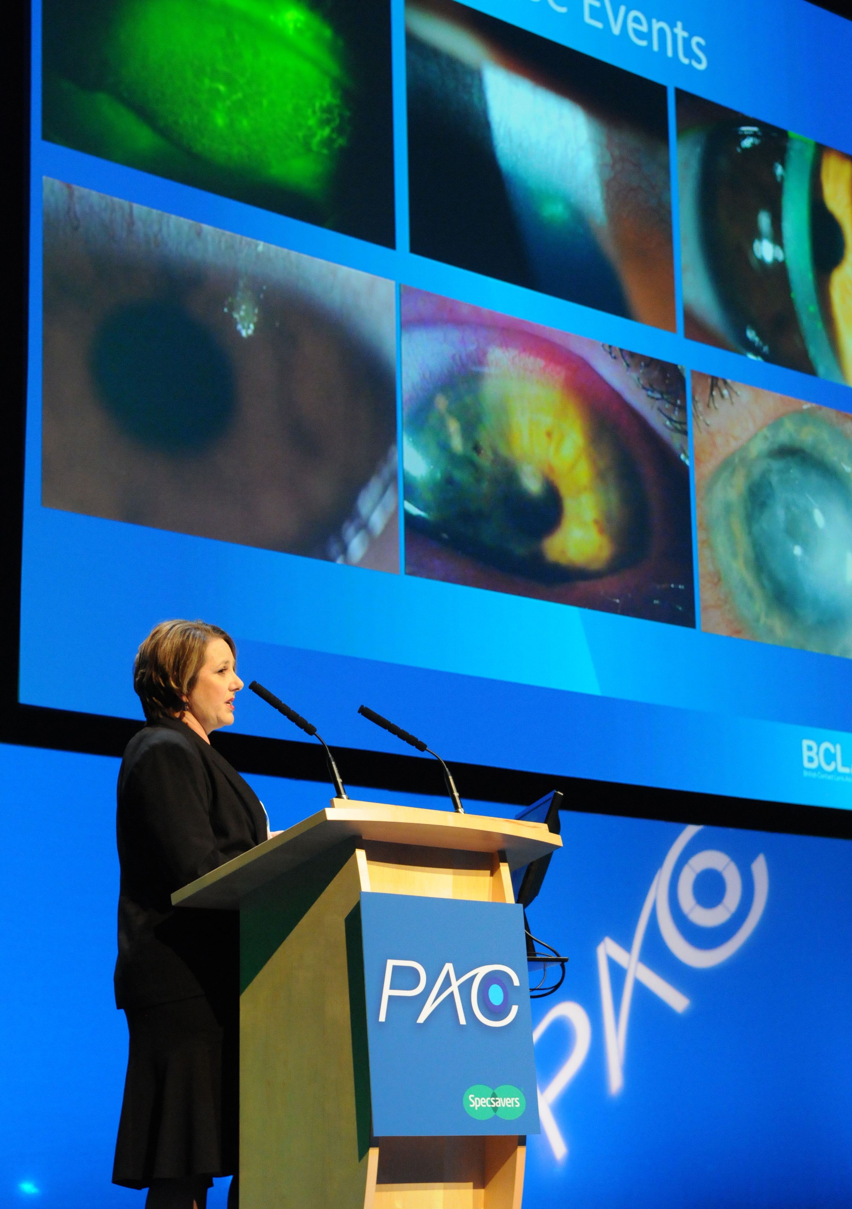 Dr Nicole Carnt talking at Specsavers professional advancement conference in 2014