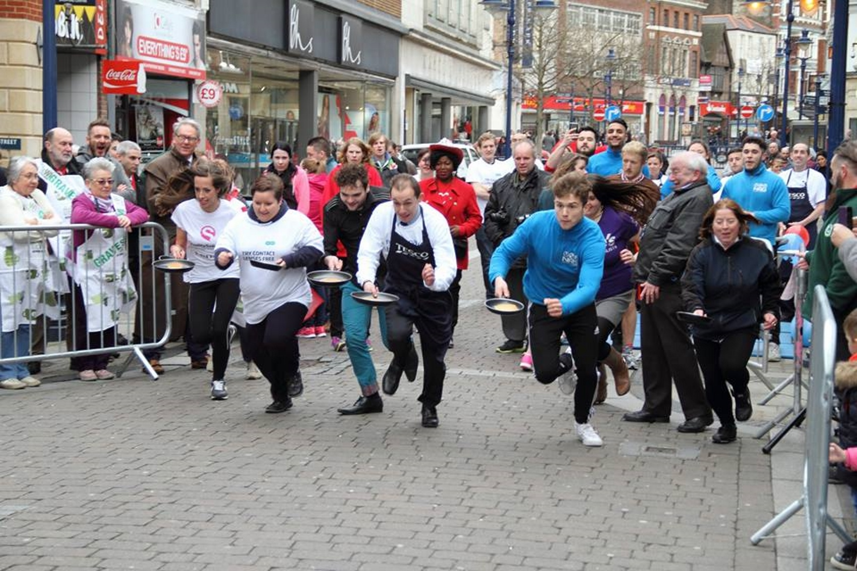 Specsavers Gravesend staff taking part in the charity pancake run