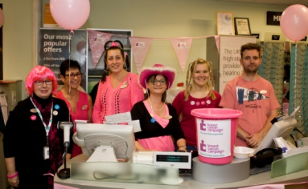 The Specsavers team in Grantham wearing pink for the Breast Cancer Campaign