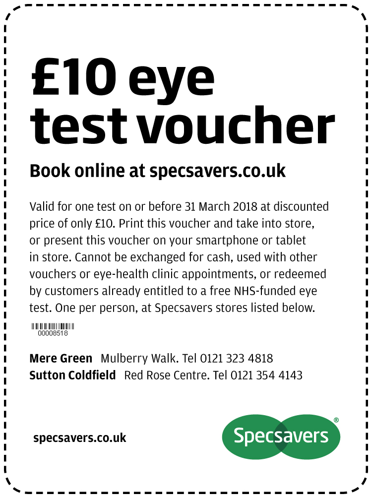 £10 eye test - Mere Green and Sutton Coldfield