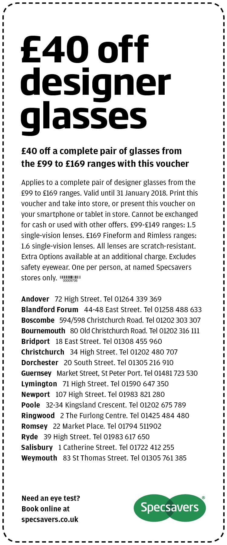 £40 off designer glasses - Hampshire West
