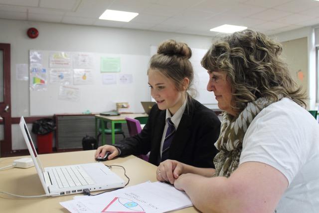 Sophie Farley, Sutton Academy student, with designer Liz Handley
