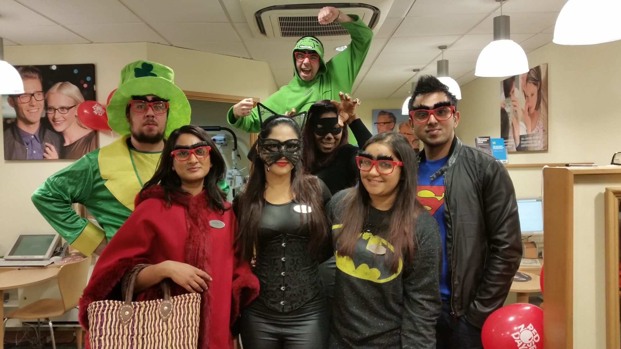 Opticians at the Specsavers North Finchley store dressed up as superheroes for Comic Relief