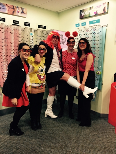 Man I feel like a woman! Store manager Andy dresses as a woman and celebrates Red Nose Day with the Bridgnorth Specsavers team