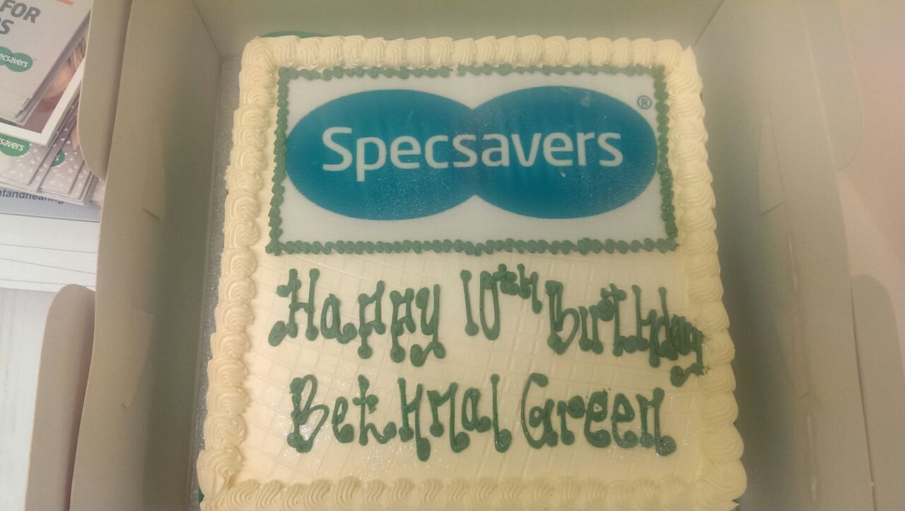Specsavers Bethnal Green store birthday cake