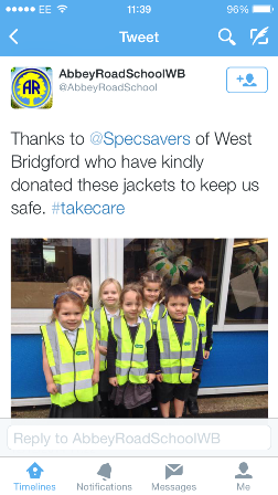 Abbey Road Primary thank West Bridgford Specsavers for the high-vis vests